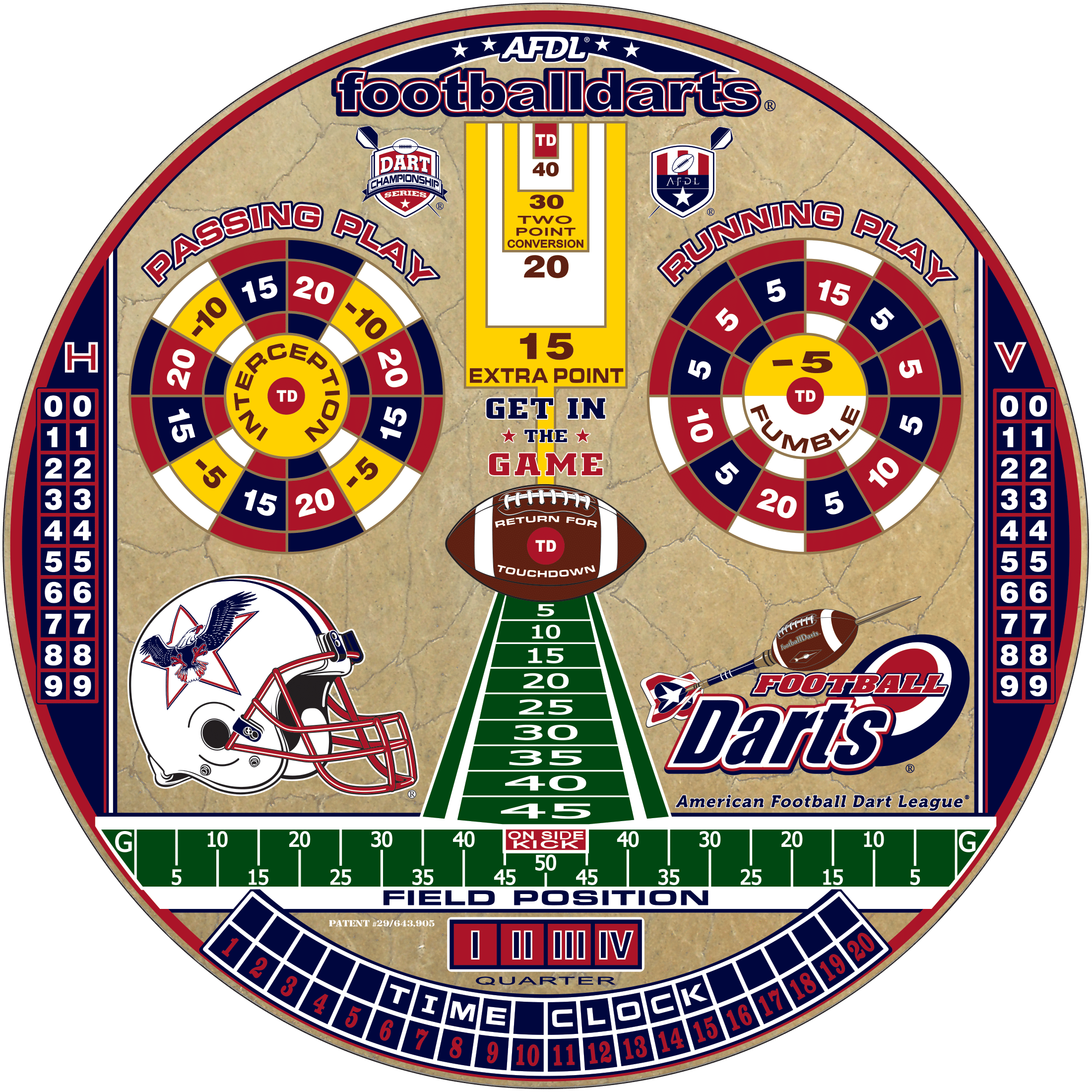 American Football Dart League Tournament Dartboard